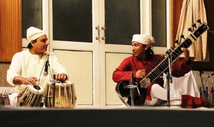 Ustad Manu Kumar Seen (Sitar) & Ustad Akram Khan (Tabla) during Sangeet Baithak at Sri Bhaini Sahib on 26-Dec-2015.