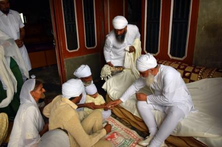Sri Satguru ji blessing sadh sangat during Ellenabad Daura on 21 July 2015.