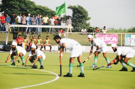 "Namdhari XI in action during ""Sri Satguru Jagjit Singh Ji yaadgari junior hockey tournament"""