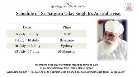 Schedule of Sri Satguru Ji's Australia tour