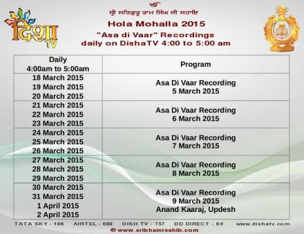 Schedule of telecast on Disha TV from 18th of March to 2nd of April