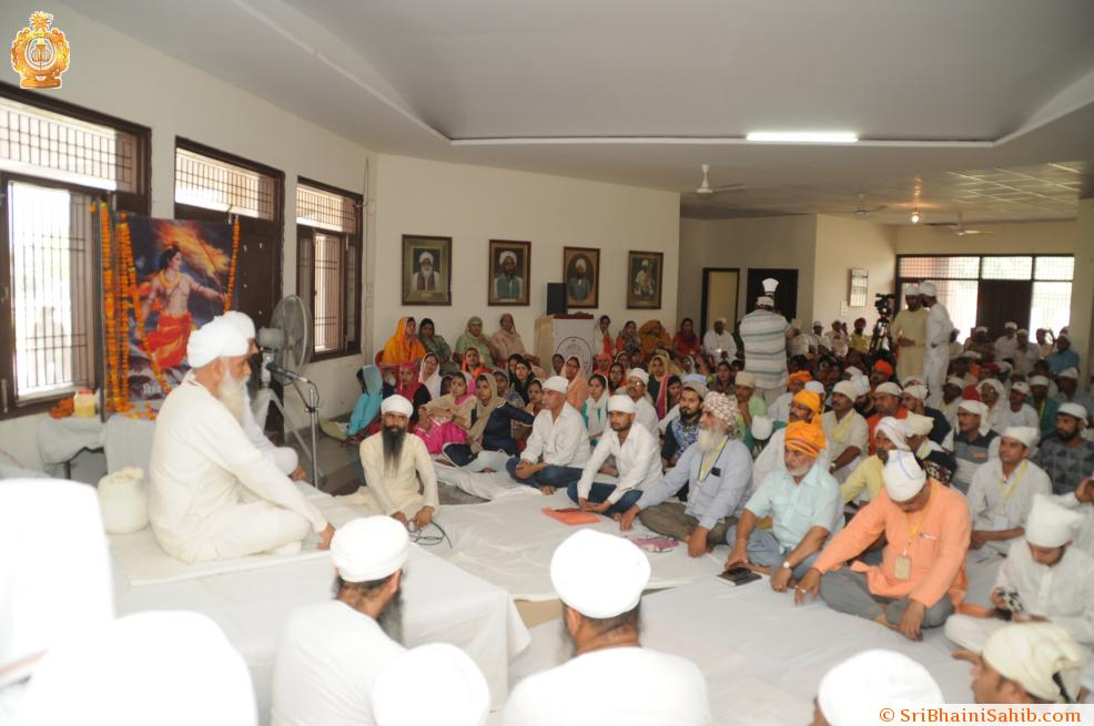 Satguru ji blessing sadh sangat during national level camp of VHP at Sri Bhaini Sahib, 30 May 2018